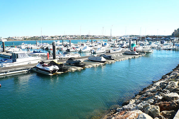 Portimao harbor with many boats